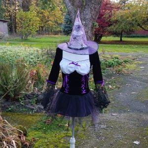 MUSIC LEGS Witch Black/Purple Costume & Hat sz S/M